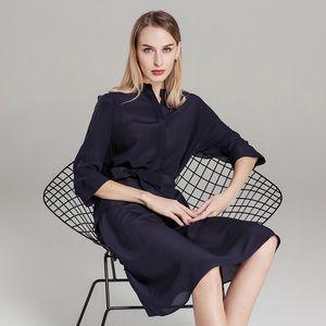 Dresses & Skirts - Dark blue middle sleeves women's dresses